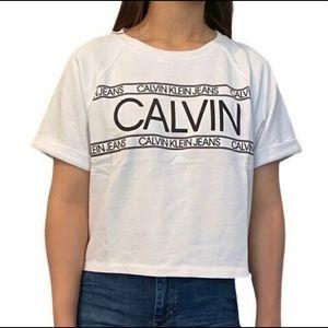 Calvin Klein Crop Tee French Terry Short Sleeve S